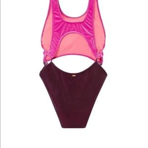 NWT Victorias Secret PINK Velvet Cut-Out One Piece Swim Suit Monokini Large L